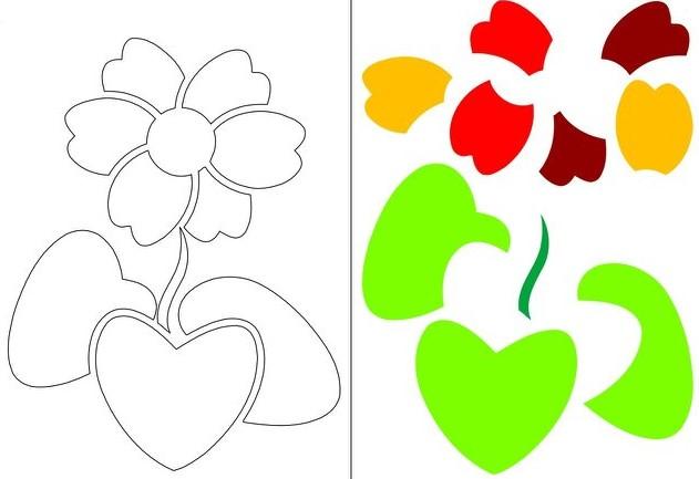 Аппликации из цветной бумаги для детей шаблоны на распечатку, темы осень, весна