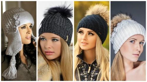Вязание спицами шапок для женщин - С описанием и бесплатными схемами - С помпном, с косами, с отворотом