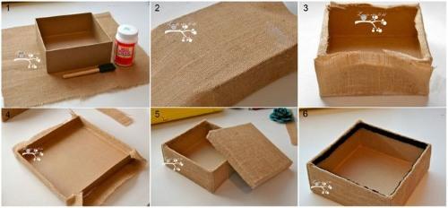 Шкатулка из картона. Мастер класс пошагового выполнения своими руками: круглая с крышкой, книга, обтянутая тканью, украшенная нитями