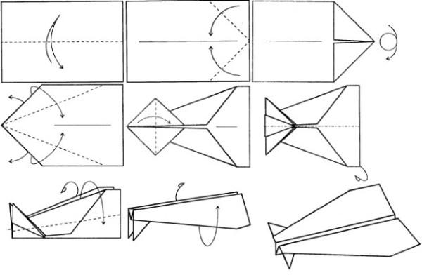 Как сделать самолет из бумаги, который долго летает своими руками. Схемы сборки с линиями сгиба, модель, которая долго и высоко летает. Пошаговая инструкция, шаблоны