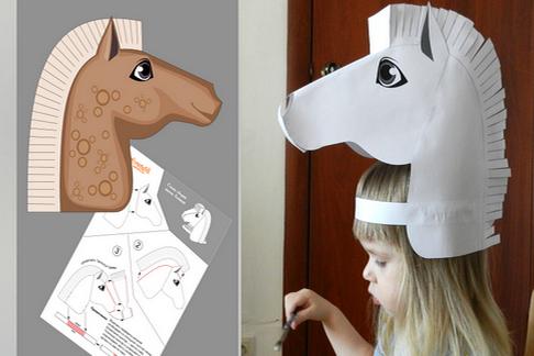 Маски из бумаги и картона на голову. Поделки с детьми своими руками: лошади, железного человека, паука, бабы Яги, волка, рыбы, козла, птицы, схемы, шаблоны животных