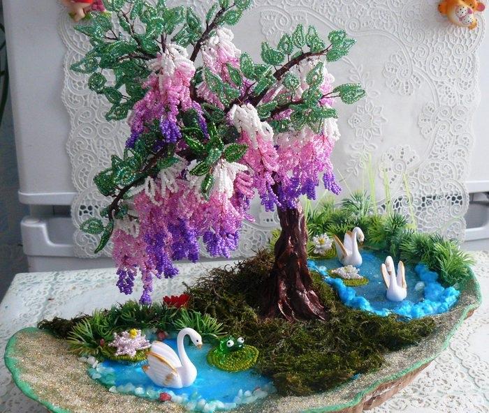 Деревья из бисера своими руками с подсветкой, композицией. Мастер-класс, схемы пошагово для начинающих