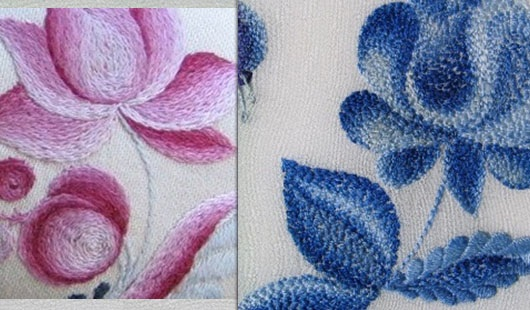 Вышивка гладью для начинающих. Схемы, рисунки: цветы розы, буквы, птицы. Объемная вышивка, техника