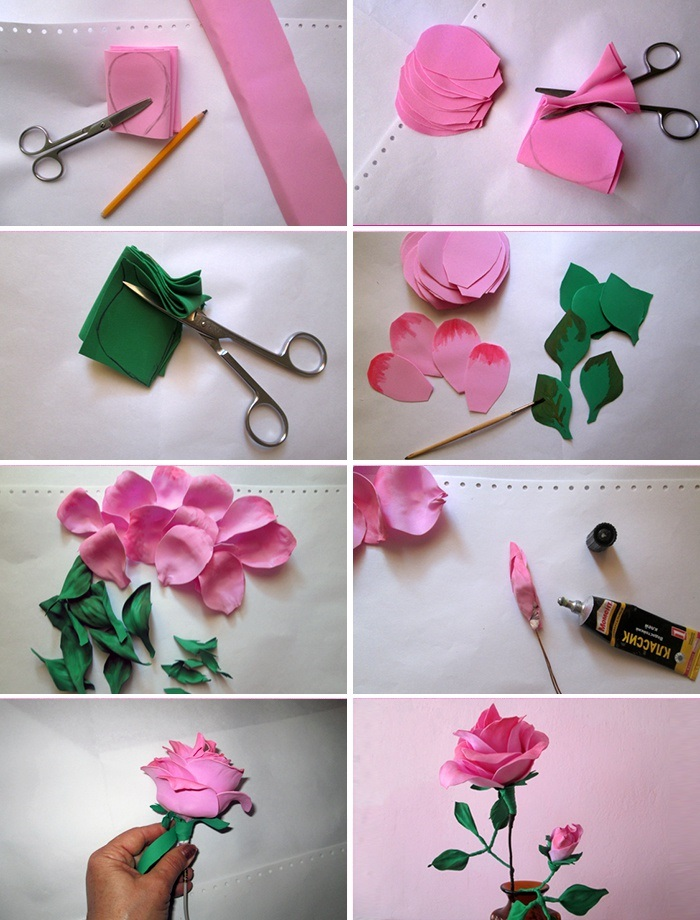 Как сделать розу из фоамирана, канзаши, ленты, ткани, органзы своими руками пошагово. Мастер класс, видео
