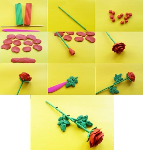 kak-sdelat-rozu-iz-plastilina-3 Букет цветов из пластилина своими руками для детей 5-6 лет