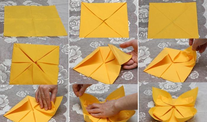 kak-sdelat-tsvetok-iz-salfetki-2-2 Как сделать цветок из салфетки своими руками поэтапно для цифры на День Рождения. Фото, видео