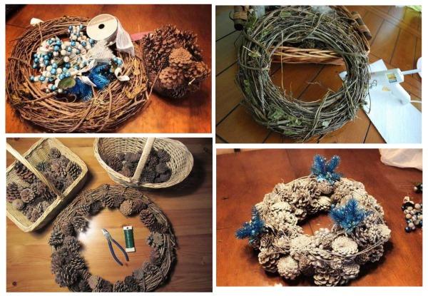 Как сделать рождественский венок из шишек. Пошаговая инструкция, фото, видео