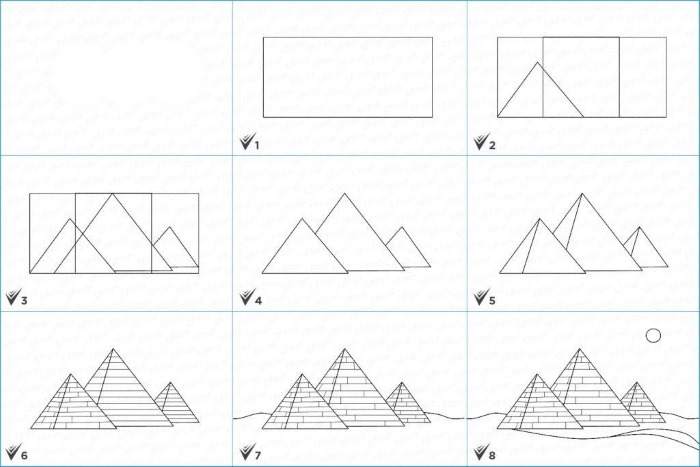 Рисование карандашом египетских пирамид с детьми. Картинки, пошагово с описанием