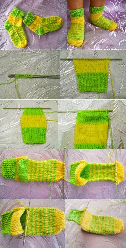 krasivye-nosochki-spitsami-so-shemami-5 Как связать детские носочки спицами (лёгкий способ)