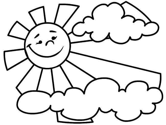 Раскраска солнышко для рисования с детьми с улыбкой и лучиками и без, облаками. Распечатать