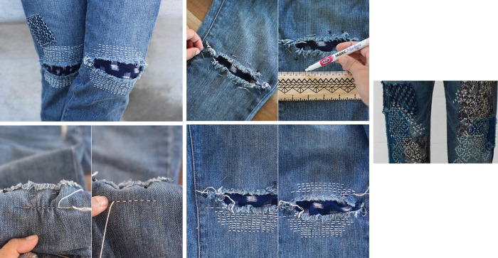 Как красиво заштопать джинсы между ног на машинке и вручную. Фото