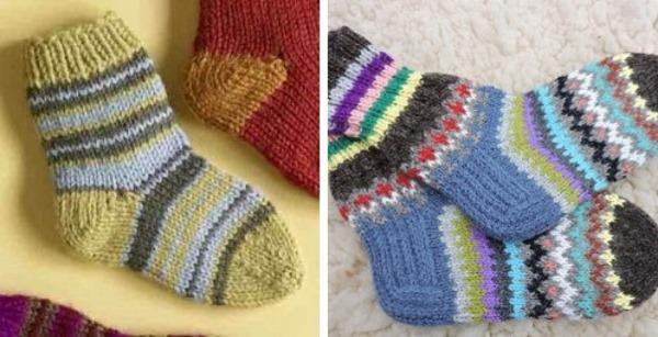 krasivye-nosochki-spitsami-so-shemami-2 Как связать детские носочки спицами (лёгкий способ)