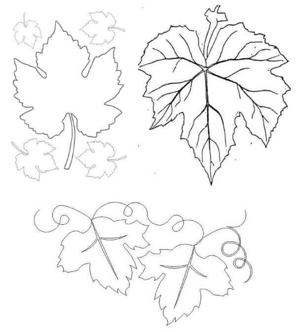 Шаблон листочка для вырезания из бумаги: дубовый, кленовый. Трафареты для аппликаций с детьми