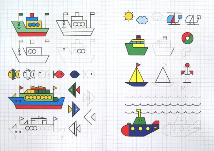 Рисование по клеточкам в тетради для детей 6-7 лет. Сложные схемы, для начинающих