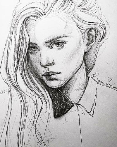 Рисунки девушек карандашом для срисовки: легкие в стиле swag, арт, аниме