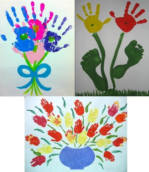 Рисунки ладошками для малышей, пальчиками в детском саду