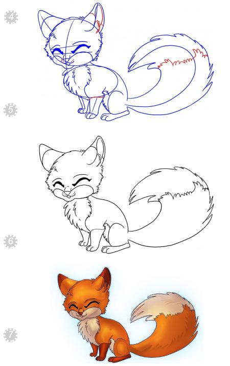 Рисунок лисы карандашом для детей для срисовки поэтапно из сказки, басни, геометрических фигур, символов