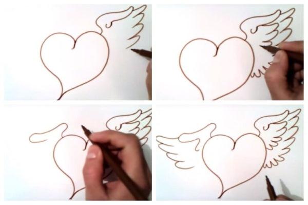 Рисунки сердца карандашом по клеточкам: разбитое с крыльями, холодное, объемное