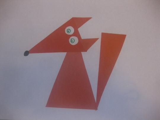 Аппликация лиса из геометрических фигур для детей, начинающих. Шаблоны