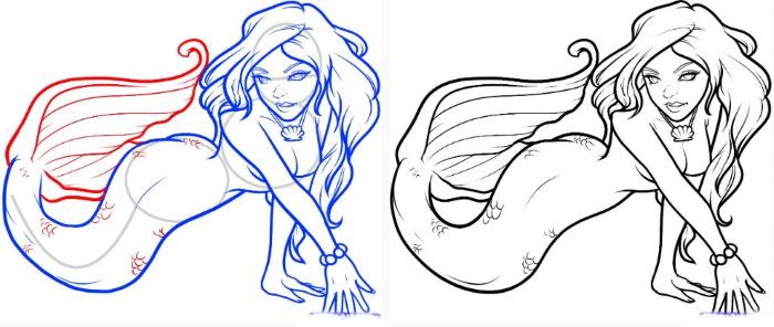 Рисунок карандашом: русалка, сидящая на камне, ветвях, в море, с дельфином