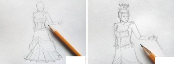 Рисунок карандашом Снежная королева, Кай, Герда поэтапно для детей к сказке