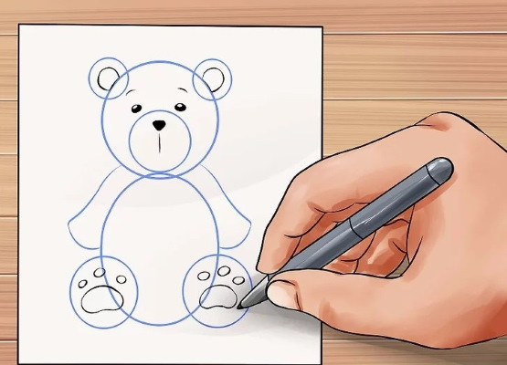 Мишка Тедди, рисунок карандашом поэтапно для начинающих