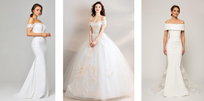 Платье с открытыми плечами и рукавами. Выкройка, как сшить летнее, свадебное, вечернее. Фото