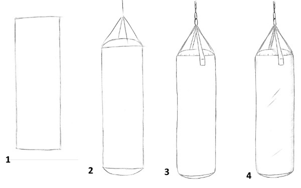 Боксерские перчатки, рисунки карандашом для детей черно-белые, цветные