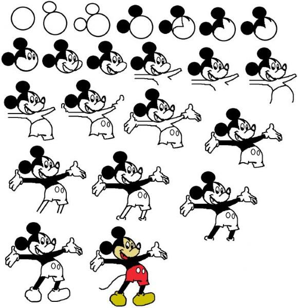 Микки Маус - рисунок карандашом для срисовки, детей, начинающих