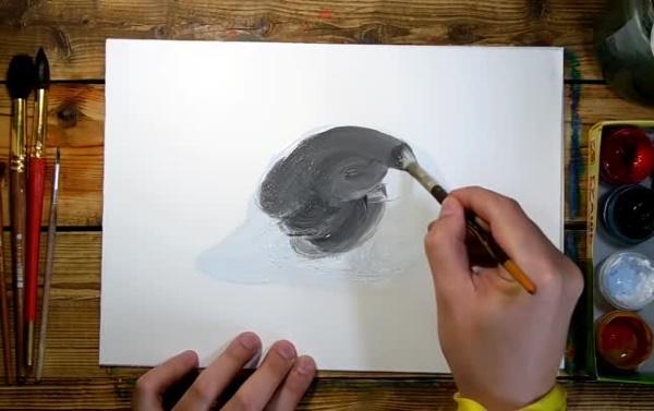 Пингвин рисунок для детей карандашом, красками на камне, льдине смешной, простой в цвете