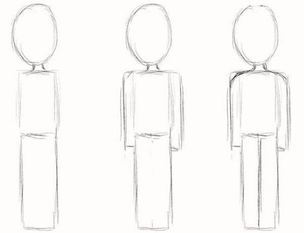 Рисуем человека поэтапно для детей карандашом в движении, полный рост, профиль