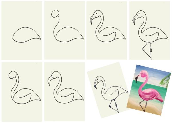 Рисунки фламинго для срисовки карандашом, акварелью поэтапно в скетчбук