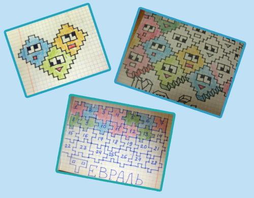 Рисунки по клеточкам, надписи популярные на английском, объемные, маленькие для начинающих