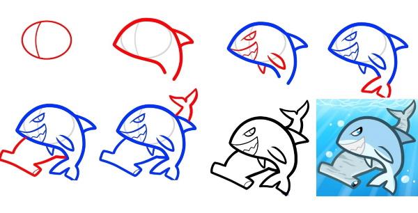 Рисунок акулы для детей карандашом для срисовки, раскрашивания в море, воде, цвете с открытой пастью, улыбкой