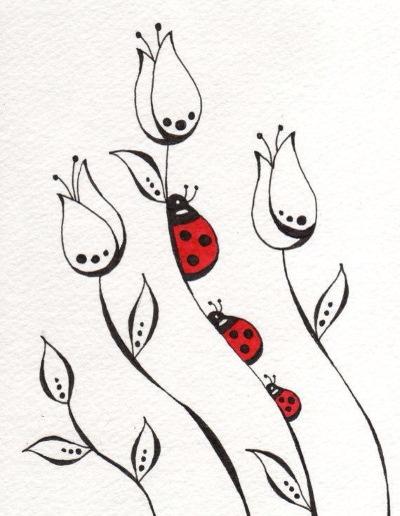 Рисунки божья коровка для детей карандашом, красками на камне