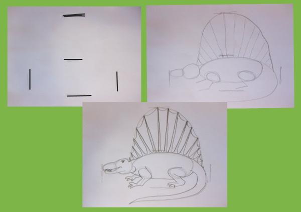 Рисунок динозавра для детей карандашом поэтапно с фоном для срисовки. Фото