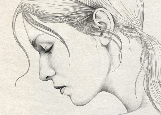 Рисунок лица девушки карандашом для срисовки поэтапно для начинающих: в профиль с закрытыми глазами, макияжем, очками