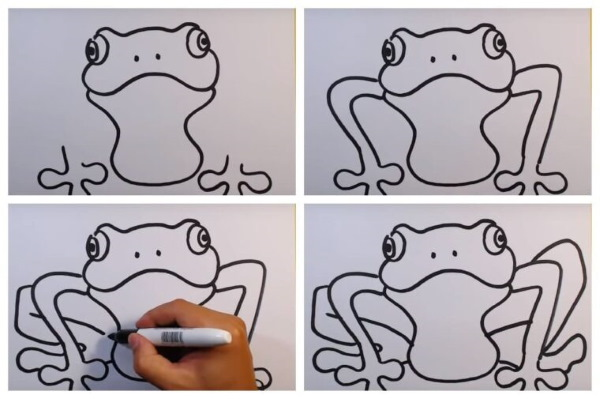 Рисунок лягушки для детей карандашом из сказки, на камне, кувшинке со стрелой, короной