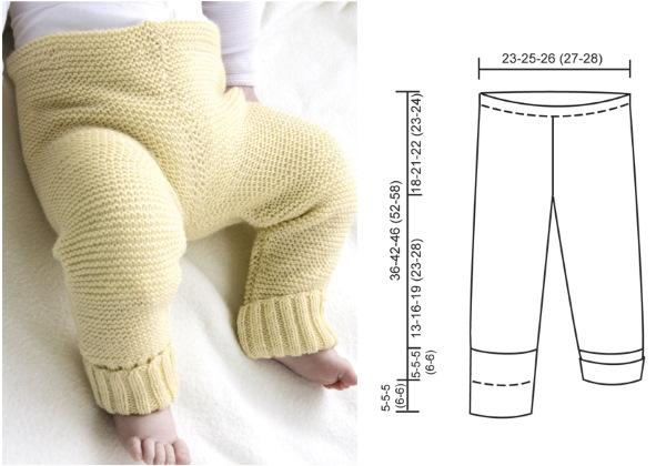 Штанишки для новорожденного спицами 0-1-2-3-4-5-6 месяцев. Схемы, описание для начинающих