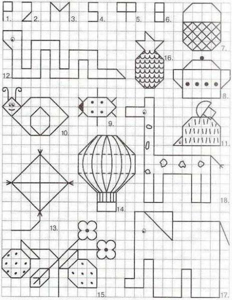 Симметричные рисунки по клеточкам для детей сложные в тетради, для дневника пошагово. Фото