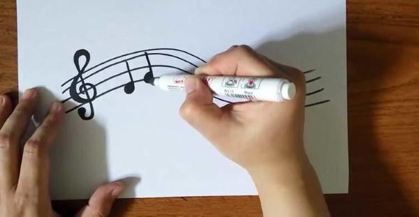 Скрипичный ключ. Рисунок для детей карандашом на нотном стане для срисовки