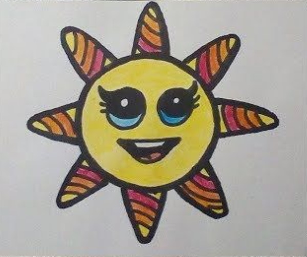 Солнце - рисунки для детей карандашом, красками с лучами, улыбкой, лицом, закат, восход