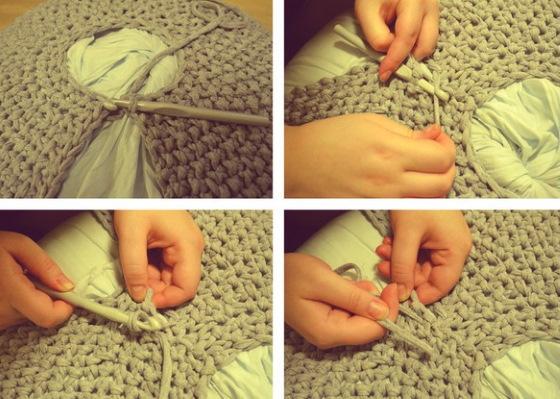 Вязание из трикотажной пряжи крючком. Корзинки, сумки, тапочки пошагово с фото