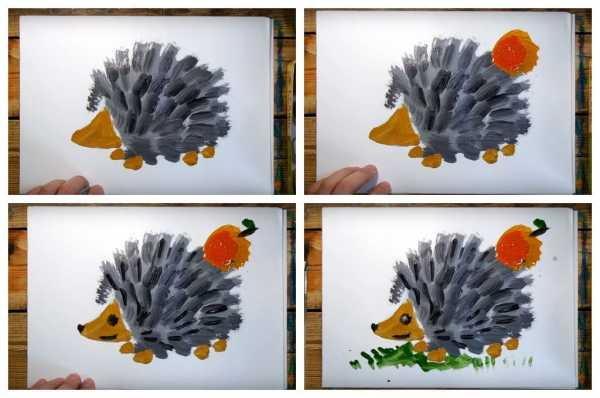 Ежик рисунок карандашом для детей, красками, раскраска, контур смешной, мультяшный, милый