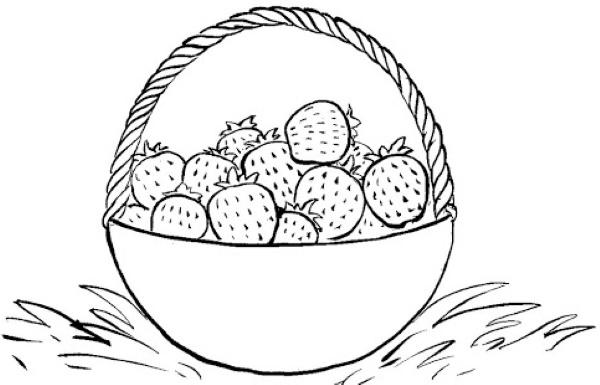 Клубника - рисунок для детей акварелью, карандашом, по клеточкам