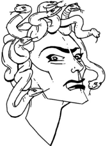 Медуза Горгона рисунок для детей карандашом легкий в полный рост, лицо для срисовки