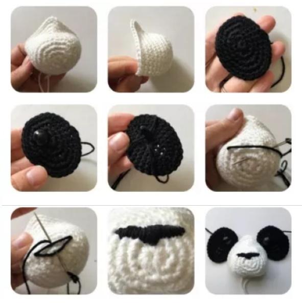 Панда крючком. Схемы, описание из плюшевой пряжи, травки, велюра для начинающих
