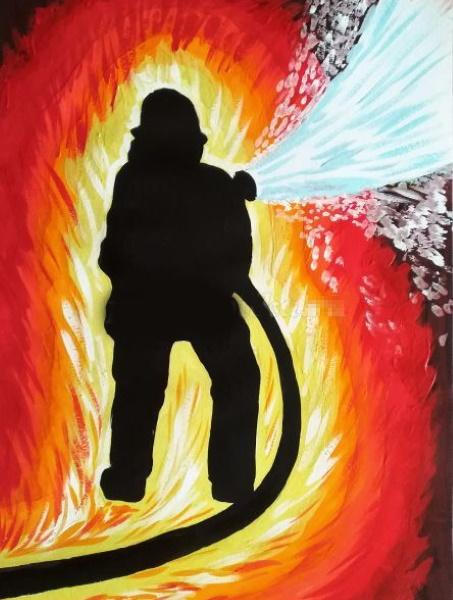 Пожарный рисунок для детей карандашом, красками, раскраска: тушит пожар, дом, спасает ребенка