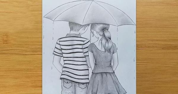 Рисунок мальчика и девочки карандашом, которые держатся за руки, целуются, обнимаются