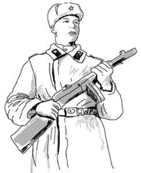 Рисунок солдата карандашом для детей начинающих поэтапно легко в полный рост, профиль, с ружьем, автоматом